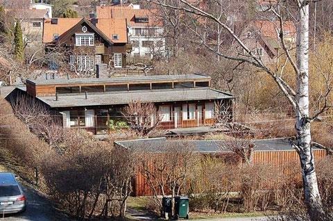 В передней части двора расположен гараж защищающий двор от уличного шума.