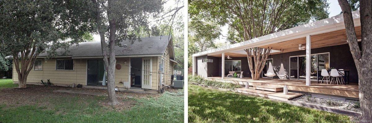Задний фасад и терраса до и после реконструкции.