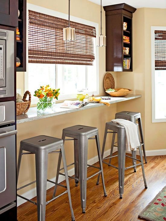 Барная стойка у окна со стальными стульями в стиле лофт.