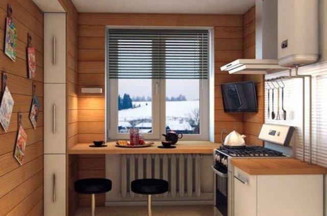 Великолепная небольшая кухня отделанная деревом с подоконником-барной стойкой с современными круглыми табуретами.