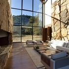 Высокий каминный зал. (гостинная,деревенский,сельский,кантри,современный,архитектура,дизайн,интерьер,экстерьер,мебель)
