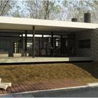 Бассейн расположился чуть ниже дома. (гостинная,на открытом воздухе,патио,балкон,терраса,фасад,1950-70е,архитектура,дизайн,интерьер,экстерьер)