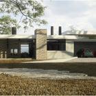 Вместо гаража выполнена крытая автомобильная парковка на два автомобиля. (вход,прихожая,фасад,парковка,гараж,стоянка,авто,1950-70е,архитектура,дизайн,интерьер,экстерьер)
