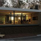 Широкая крытая терраса предоставляет дополнительное пространство для жизни в теплом климате. (гостинная,на открытом воздухе,патио,балкон,терраса,1950-70е,мебель,архитектура,дизайн,интерьер,экстерьер)