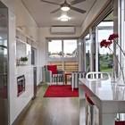 Жилое пространство (столовая,вход,прихожая,жилая комната,кухня,современный,маленький дом,архитектура,дизайн,интерьер,экстерьер,мебель)