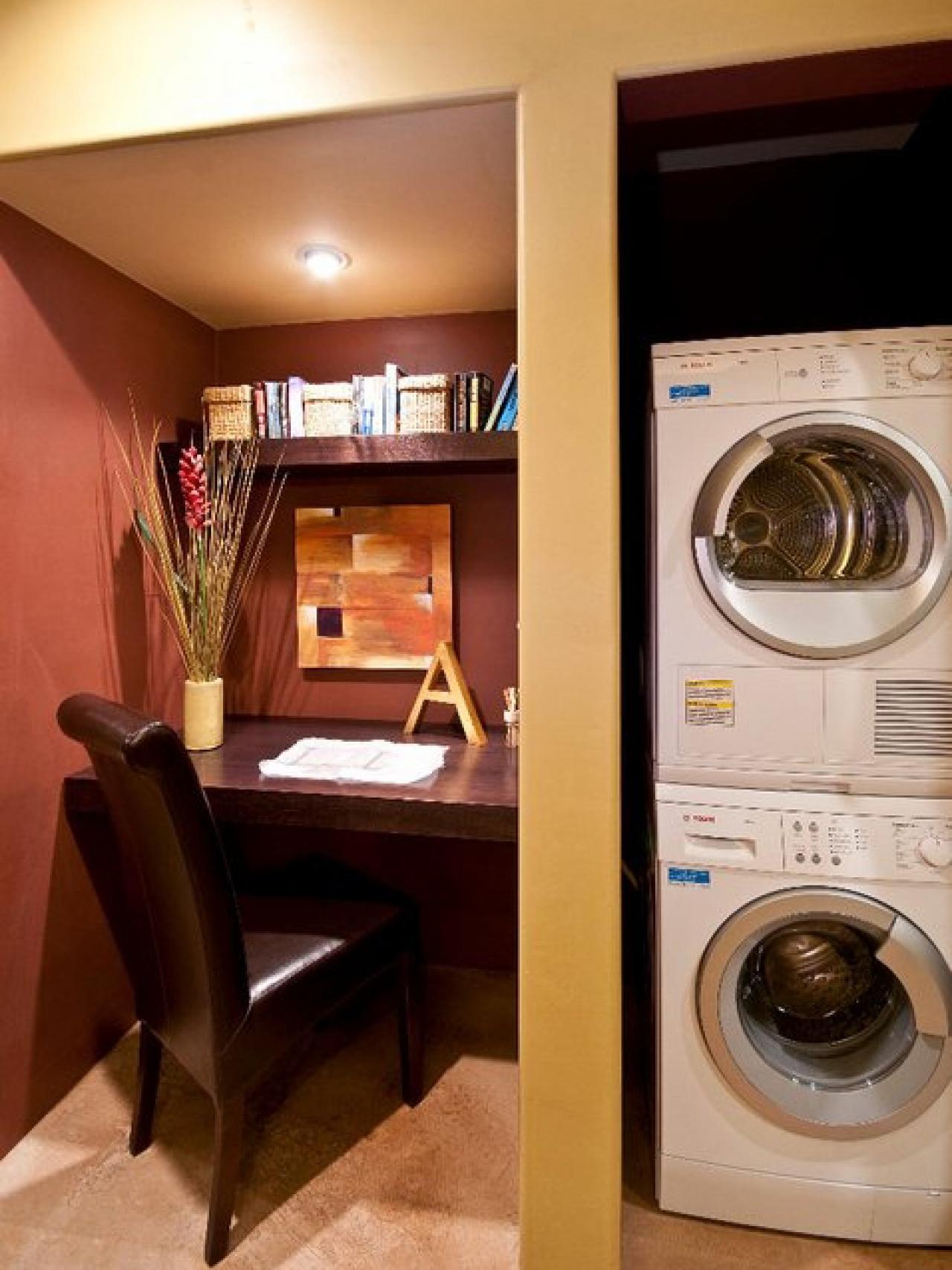 Даже в маленькой прачечной можно выделить немного места для домашнего офиса.