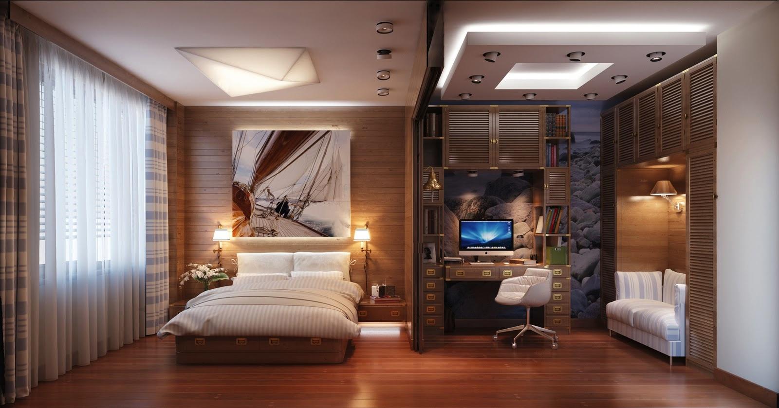 Офис расположенный в спальне удобно отделить большой сдвижной дверью.