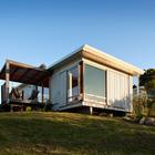 Фасад дачного дома (фасад,минимализм,пляжный,современный,маленький дом,архитектура,дизайн,интерьер,экстерьер)