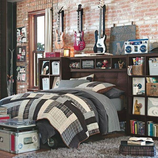 Детская спальня в стиле лофт для ребенка увлекающегося музыкой.
