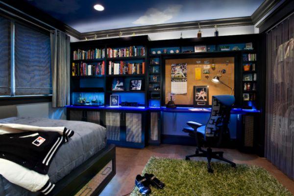 Детская спальня в темной цветовой палитре и интересной подсветкой. Шкаф зашторен занавеской.