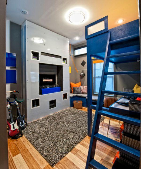 Эклектичный интерьер детской в голубых тонах с двухъярусной кроватью.