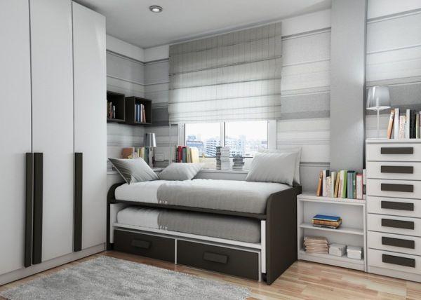 Серая с черным детская в стиле минимализм с компактной выдвижной кроватью.