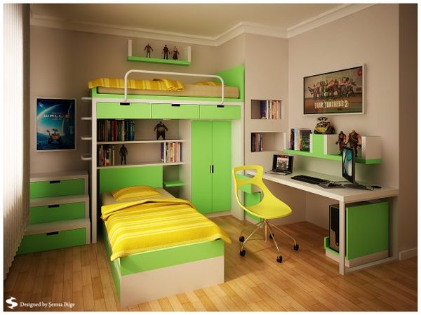 Зеленая детская для двух подростков с интересной двухъярусной кроватью.