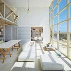 Столовая от гостинной отделена сдвижной дверью остекленной матовым стеклом. (столовая,гостинная,минимализм,индустриальный,лофт,винтаж,маленький дом,архитектура,дизайн,интерьер,экстерьер,мебель)