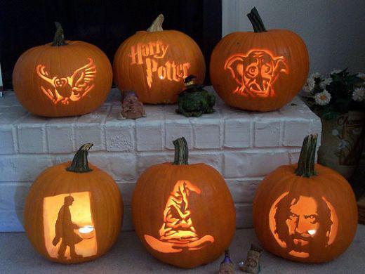 Целый набор фонарей Джека на тему Гарри Поттера.