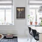 Два больших окна хорошо освещают объединенное жилое пространство. (гостиная,столовая,скандинавский,мебель,архитектура,дизайн,интерьер,экстерьер,квартиры,апартаменты)